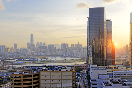 bay: Hong Kong Sunset, View from kowloon bay downtown