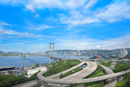 Tsing ma bridge at day Imagens