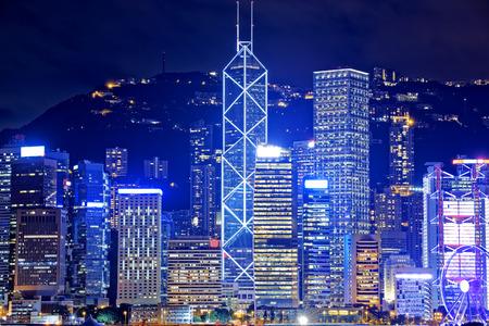 hong: Hong Kong Office Buildings at Night Editorial