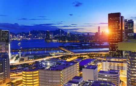 megalopolis: Hong Kong Kowloon at night Stock Photo