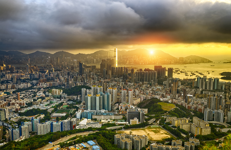 Hong Kong City skyline Sunset