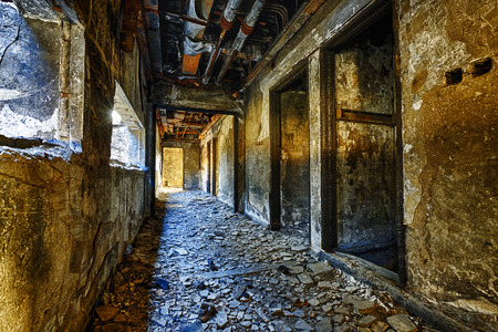Old abandoned ruin factory damage building inside Stok Fotoğraf - 49932272