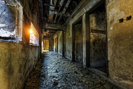 brick building: Old abandoned ruin factory damage building inside