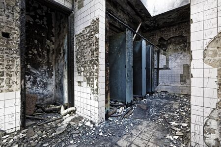 industrial ruins: Old abandoned ruin factory damage building inside
