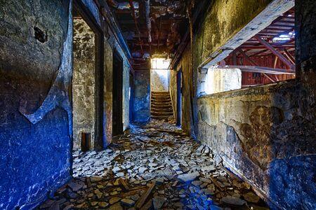 inside house: Old abandoned ruin factory damage building inside
