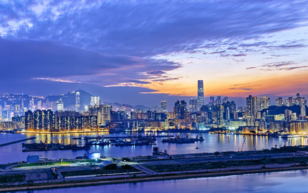 nightscene: Hong Kong city sunset view from kowloon side