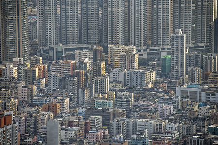 cityscapes: Hong Kong cityscape, crowd buildings at day