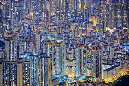 Hong Kong city at night Imagens