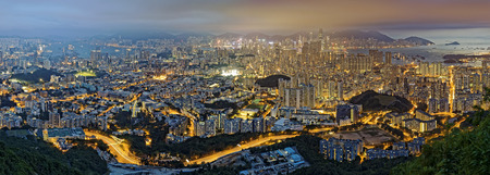 outdoor electricity: Hong Kong cityscape at night Stock Photo