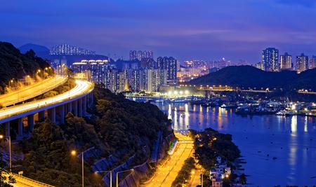 ting: Taffic Night scene of Ting Kau suspension bridge, Hong Kong