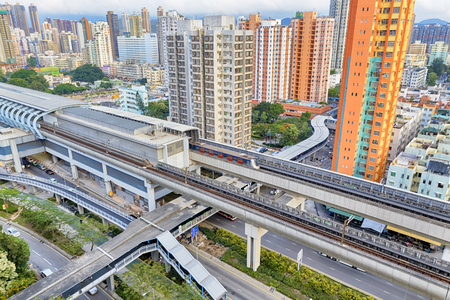 hk: hong kong urban downtown and sunset speed train, Yuen Long Long Ping