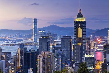 sunset city: Hong kong city at sunset