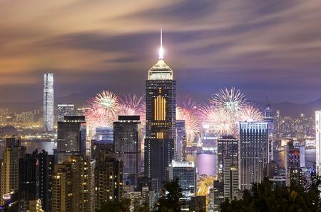 홍콩 신년 중국 불꽃 놀이 스톡 콘텐츠