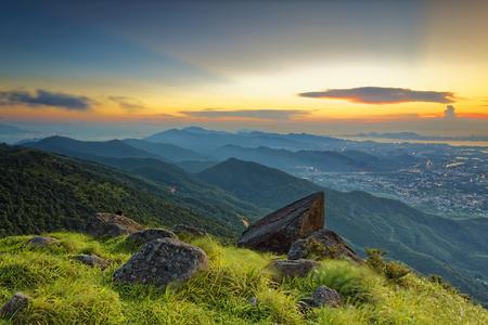 mococa: Sunset over new territories in hong kong as viewed atop Tai Mo Shan