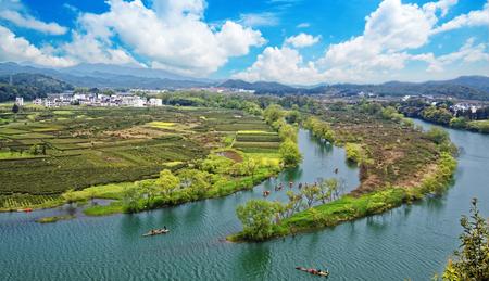 oilseed rape: Rural landscape in wuyuan county, jiangxi province, china.