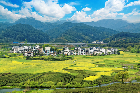 province: Rural landscape in wuyuan county, jiangxi province, china.