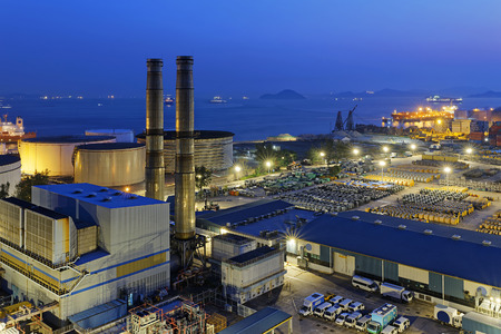 rafinery: petrochemical industrial plant at night , Coal power station at Hong Kong