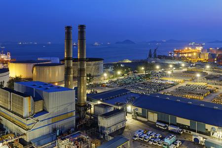 globalwarming: petrochemical industrial plant at night , Coal power station at Hong Kong
