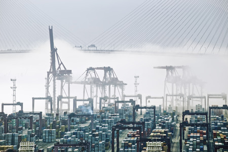 inland: Hong Kong cargo port in mist Stock Photo