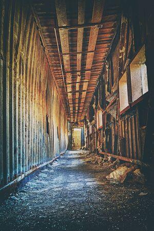 industrial ruins: Old abandoned ruin factory damage building inside , hong kong