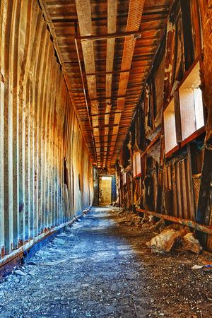 inside house: Old abandoned ruin factory damage building inside , hong kong
