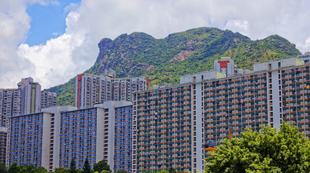 overcrowded: hong kong public estate with landmark lion rock at day