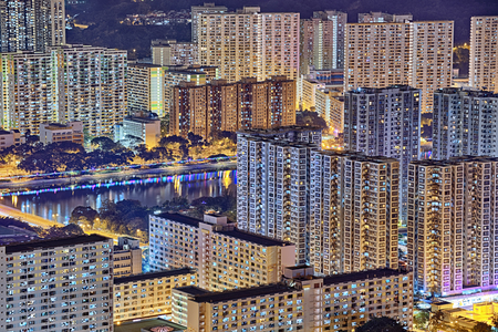 overcrowded: hong kong night , downtown area Stock Photo