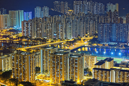 Residential building in Hong Kong at night