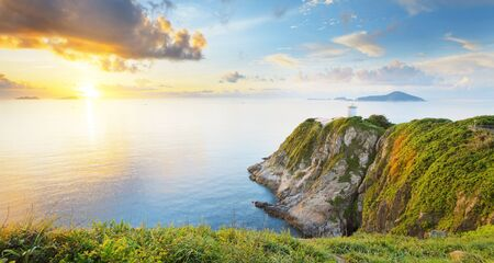panoramic sky: Hong Kong lighthouse during sunrise , Hok Tsui Cape DAguilar beautiful landscape