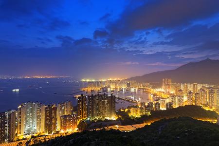 bird 's eye view: Hong Kong Tuen Mun skyline and South China sea at night