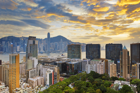 Hong Kong city sunset , Tsim Sha Tsui downtown