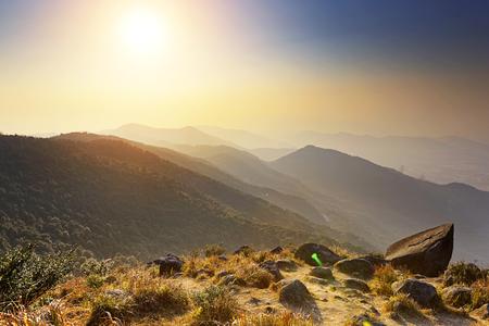 Tai Mo Shan sunset, hong kong famous mountain Stock Photo