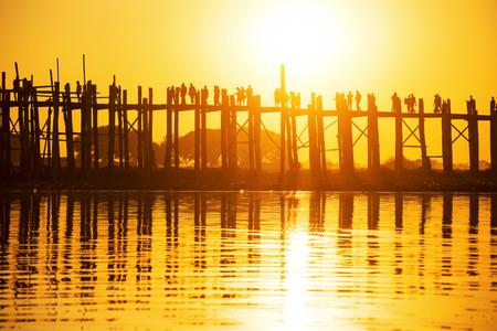 fishman: U bein bridge at sunset, Myanmar landmark in mandalay
