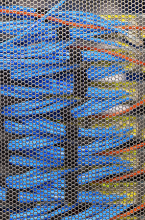 Lan cable in Cambridge Server Rack, foucs on the door Stock Photo