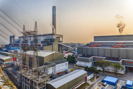 power industry: Hong Kong power station at sunset , Glow light of petrochemical industry