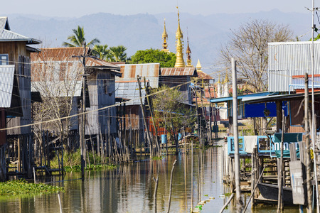 Traditional wooden stilt houses at the Inle lake, Shan state, Myanmar (Burma).