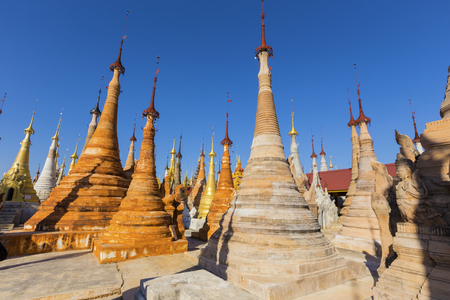 Ruins of ancient Burmese Buddhist pagodas Nyaung Ohak in the village of Indein on Inlay Lake in Shan State, Myanmar, Burma) Stock Photo