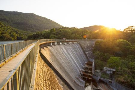 spillway: Ho Pui Reservoir - Yuen Long hong kong , water dam sunset