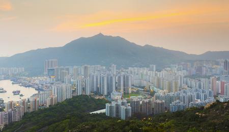 noon: Hong Kong Tuen Mun downtown at sunset