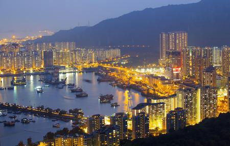 noon: Hong Kong Tuen Mun downtown at night