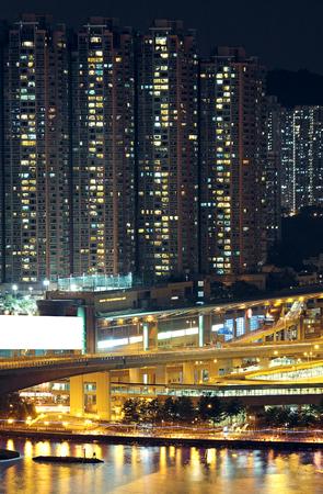 Night shot of a city skyline. Stock Photo