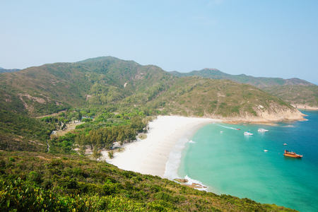 Hong Kong beach at daytime, hiking path Stock Photo