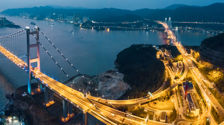 Tsing Ma Bridge at sunset in Hong Kong. Drone Shoot
