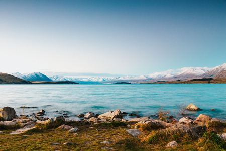 amazing landscapes viewed from Tekapo observatory, New Zealand 免版税图像