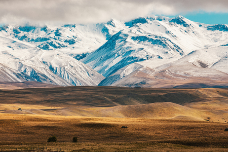 New Zealand scenic mountain landscape shot at Mount Cook National Park daytime Imagens - 117762692