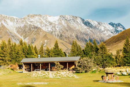 Alpine hut on Hooker Valley Track in Mount Cook National Park, New Zealand