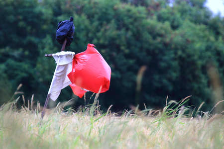 plastic bags: scarecrow made from plastic bags Stock Photo