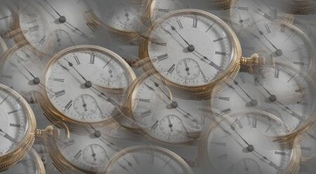 Background with multiple pocket watch images in random pattern 版權商用圖片