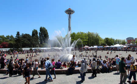 Cooling off in the International Fountain, Seattle Centre. Northwest Folklife Festival, Memorial Day Weekend 2012.