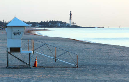 Early morning lifeguard tower on Pompano beach photo